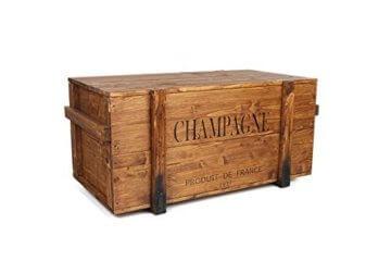 Uncle Joe´s Truhe Holzkiste Champagne, 85 x 45 x 46 cm, Holz, Hellbraun, Vintage, Shabby chic Couchtisch, braun, 85x45x46 cm - 1