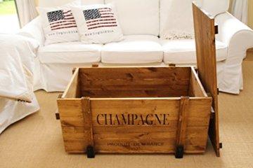 Uncle Joe´s Truhe Holzkiste Champagne, 98 x 55 x 46 cm, Holz, Hellbraun, Vintage, Shabby chic Couchtisch, braun, 98x55x46 cm - 5