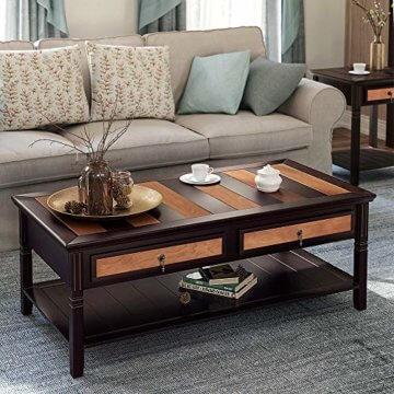 VASAGLE Couchtisch mit 2 Schubladen,120 x 60 x 45 cm, Kaffeetisch mit Metallgriffen, Beine aus Massivholz, einfache Montage, Fernsehtisch für Wohnzimmer, Büro LCT11CY - 2