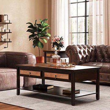 VASAGLE Couchtisch mit 2 Schubladen,120 x 60 x 45 cm, Kaffeetisch mit Metallgriffen, Beine aus Massivholz, einfache Montage, Fernsehtisch für Wohnzimmer, Büro LCT11CY - 3