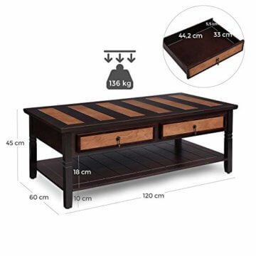 VASAGLE Couchtisch mit 2 Schubladen,120 x 60 x 45 cm, Kaffeetisch mit Metallgriffen, Beine aus Massivholz, einfache Montage, Fernsehtisch für Wohnzimmer, Büro LCT11CY - 4