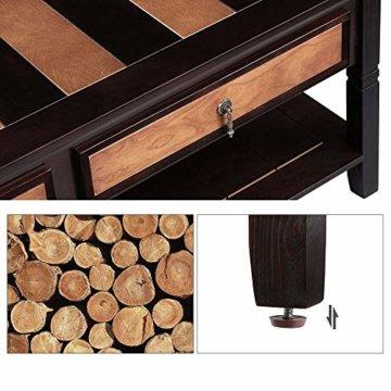 VASAGLE Couchtisch mit 2 Schubladen,120 x 60 x 45 cm, Kaffeetisch mit Metallgriffen, Beine aus Massivholz, einfache Montage, Fernsehtisch für Wohnzimmer, Büro LCT11CY - 6
