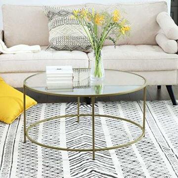 VASAGLE Couchtisch rund, Glastisch mit goldenem Eisen-Gestell, Wohnzimmertisch, Sofatisch, robustes Hartglas, stabil, dekorativ, Gold LGT21G - 2