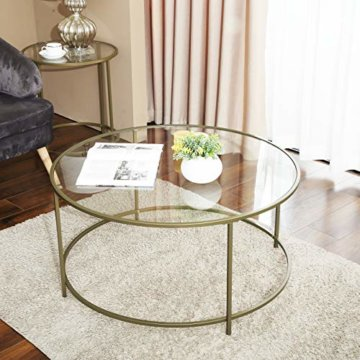 VASAGLE Couchtisch rund, Glastisch mit goldenem Eisen-Gestell, Wohnzimmertisch, Sofatisch, robustes Hartglas, stabil, dekorativ, Gold LGT21G - 3