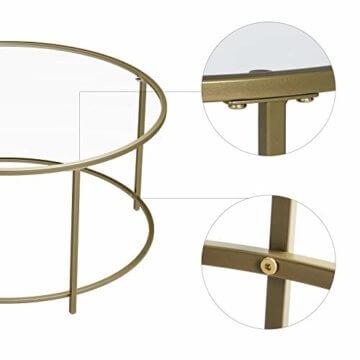 VASAGLE Couchtisch rund, Glastisch mit goldenem Eisen-Gestell, Wohnzimmertisch, Sofatisch, robustes Hartglas, stabil, dekorativ, Gold LGT21G - 4
