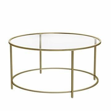 VASAGLE Couchtisch rund, Glastisch mit goldenem Eisen-Gestell, Wohnzimmertisch, Sofatisch, robustes Hartglas, stabil, dekorativ, Gold LGT21G - 1