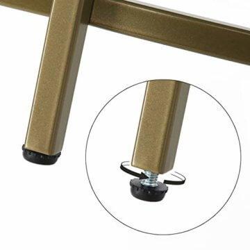 VASAGLE Couchtisch rund, Glastisch mit goldenem Eisen-Gestell, Wohnzimmertisch, Sofatisch, robustes Hartglas, stabil, dekorativ, Gold LGT21G - 5
