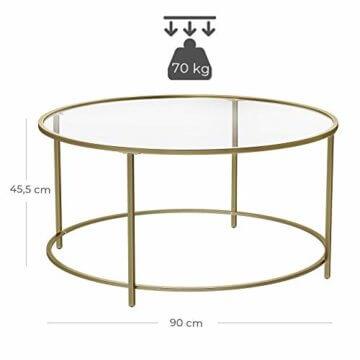 VASAGLE Couchtisch rund, Glastisch mit goldenem Eisen-Gestell, Wohnzimmertisch, Sofatisch, robustes Hartglas, stabil, dekorativ, Gold LGT21G - 6