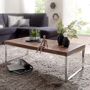 Wohnling Couchtisch GUNA Massiv-Holz Sheesham 120 cm breit Wohnzimmer-Tisch Design Landhaus-Stil Beistelltisch Natur-Produkt Wohnzimmermöbel Unikat modern Massivholzmöbel Echtholz rechteckig dunkel-braun - 2