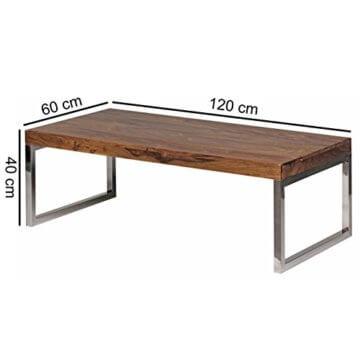 Wohnling Couchtisch GUNA Massiv-Holz Sheesham 120 cm breit Wohnzimmer-Tisch Design Landhaus-Stil Beistelltisch Natur-Produkt Wohnzimmermöbel Unikat modern Massivholzmöbel Echtholz rechteckig dunkel-braun - 3