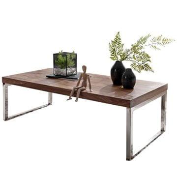 Wohnling Couchtisch GUNA Massiv-Holz Sheesham 120 cm breit Wohnzimmer-Tisch Design Landhaus-Stil Beistelltisch Natur-Produkt Wohnzimmermöbel Unikat modern Massivholzmöbel Echtholz rechteckig dunkel-braun - 1