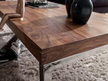 Wohnling Couchtisch GUNA Massiv-Holz Sheesham 120 cm breit Wohnzimmer-Tisch Design Landhaus-Stil Beistelltisch Natur-Produkt Wohnzimmermöbel Unikat modern Massivholzmöbel Echtholz rechteckig dunkel-braun - 5