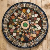 """24 """"Marmor schwarz runde Tischplatte Couchtisch Mosaik Inlay Interieur dekorati"""
