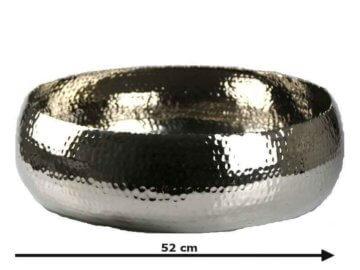 Alu Dekoschale XL, gehämmert - Schale Orient silber groß, Kerzentablett, D ...