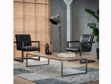 BASSUM Couchtisch Sofatisch 150x70 cm Tisch Massivholz + Metall Vintage Grau