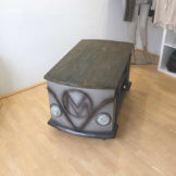 Couch Tisch Stil VW Bulli Bus Shabby Metall Holz Industriedesign Rolltisch