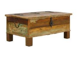 Couchtisch 108x60 Truhe Bank Holz bunt Vintage Antik Look Wohnmöbel Avadi
