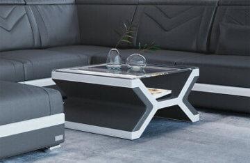 Couchtisch Beistelltisch Leder NAPOLI Designertisch Wohnzimmertisch Tisch Neu