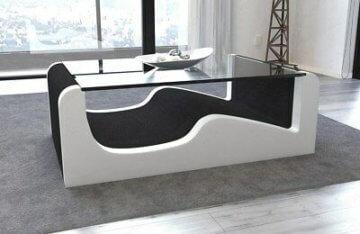 Couchtisch Beistelltisch Stoff WAVE mit Glasplatte Designer Wohnzimmertisch