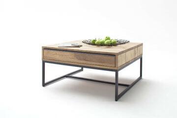 Couchtisch Dakar Wildeiche Massiv MDF Metall 1 Schubksten Natur Schwarz Tisch