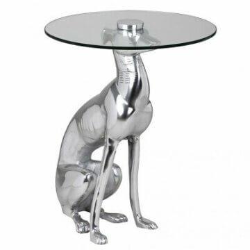 Couchtisch Hund Silber Design Dekotisch Beistelltisch Skulptur Figur