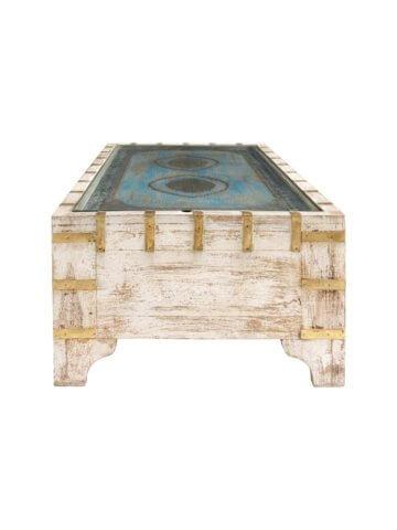 Couchtisch Massivholz Mangoholz Metall Glas Holztisch Tisch Bunt Antik Look