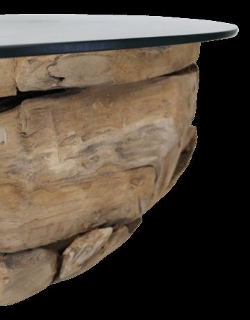 Couchtisch Massivholz  Wurzelstücke Unikat - Teak massiv mit Glasplatte 90cm