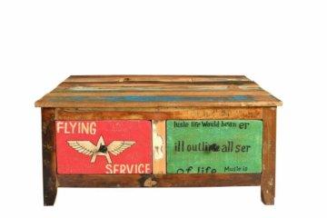 """Couchtisch """"Speedys"""" - B/H/T:ca.90x40x90cm 4 Schubladen bunt lackiert Altholz"""