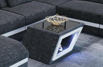 Couchtisch Wohnzimmertisch Tisch CATANIA Stofftisch Designer Beistelltisch LED