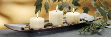 Dekoplatte TRENTON rechteckig, Holzschale mit Kerzen und Dekosteinen, Schiffchen