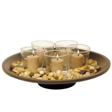 Dekoschale GALLERY rund, Holzschale mit Kerzen im Glas & Dekosteine, Komplet