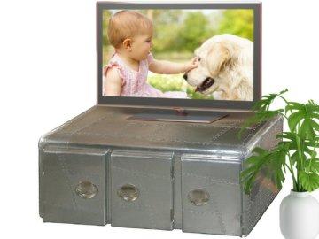 Designer Wohnzimmertisch Couchtisch Sofatisch TV-Tisch Lowboard Metall Koffer