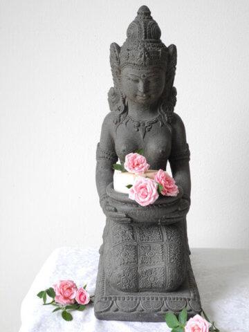 Dewi Schale Statue Göttin Figur Kerze Buddha Bali 43cm grau Stein Guss Deko