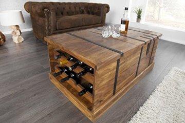 DuNord Design Couchtisch Hausbar Bonaire 100cm Palisander Sheesham Massivholz Truhe Bar - 3