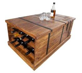 DuNord Design Couchtisch Hausbar Bonaire 100cm Palisander Sheesham Massivholz Truhe Bar - 1