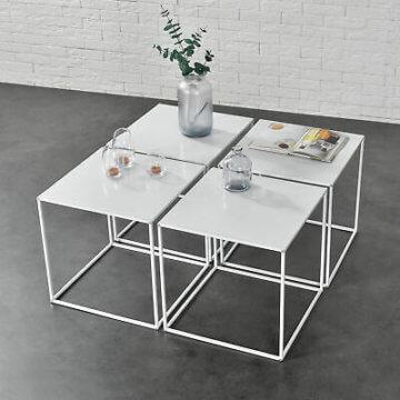[en.casa] 4x Couchtisch Beistelltisch Wohnzimmertisch Tisch Kaffeetisch Set Weiß