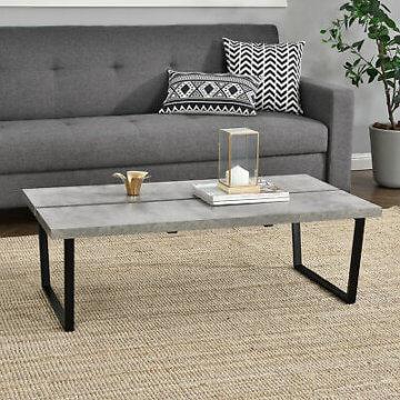 [en.casa]® Couchtisch 110x60x35cm Wohnzimmertisch Beistelltisch Beton-Optik MDF