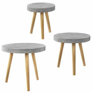 [en.casa]® Couchtisch 3er Set Beton grau Beistelltisch Beistell Tisch Wohnzimmer