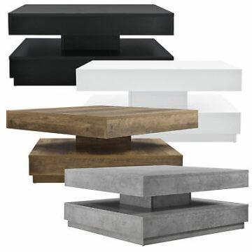 [en.casa] Couchtisch Beistelltisch Wohnzimmertisch Sofatisch Tischplatte Drehbar