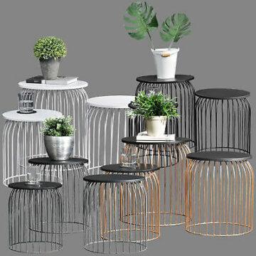 [en.casa]® Metallkorb Beistelltisch Couchtisch Sofatisch 3er Set Deko Weiß