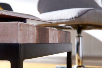 FineBuy Beistelltisch 100cm Metall Couchtisch Holz Massiv Sofatisch Wohnzimmer