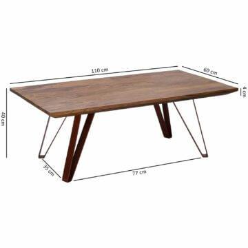 FineBuy Couchtisch 110x40x60cm Wohnzimmertisch Sheesham Sofatisch massiv Holz