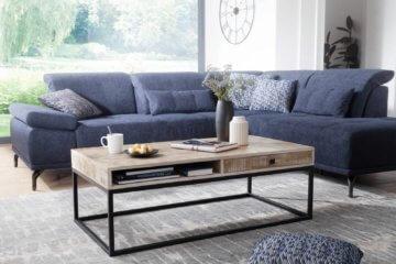 FineBuy Couchtisch 115 cm Wohnzimmertisch Massivholz mit Schublade Metall Tisch