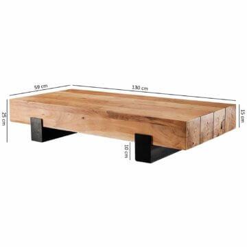 FineBuy Couchtisch FB50988 Wohnzimmertisch Holztisch Beistelltisch Tisch Massiv