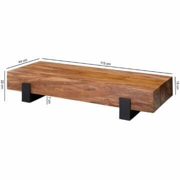 FineBuy Couchtisch Holz Wohnzimmertisch Massiv Beistelltisch Holztisch Sheesham