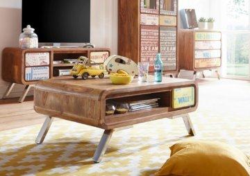 FineBuy Couchtisch KAIA 100 cm Sheesham Wohnzimmertisch Holz Tisch Wohnzimmer
