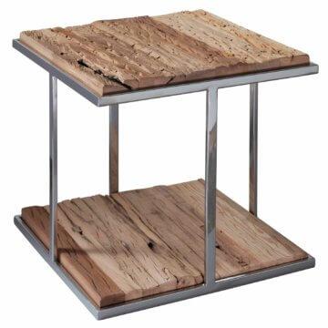 FineBuy Couchtisch Massiv Wohnzimmertisch Holz Beistelltisch Holztisch Metall