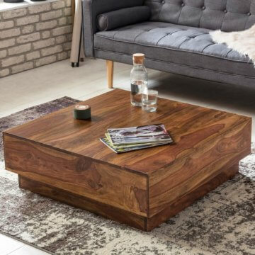 FineBuy Couchtisch Massiv Wohnzimmertisch Sheesham 90cm Holz Tisch Beistelltisch