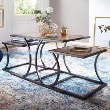 FineBuy Couchtisch Sheesham Holz Sofatisch Metallgestell Wohnzimmertisch Tisch