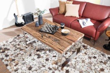 FineBuy Industrial Couchtisch 120 cm Massivholz Sofatisch Wohnzimmertisch Tisch